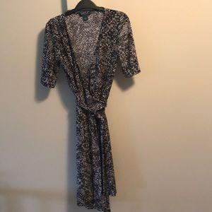 Ralph Lauren b/w short sleeve jersey wrap dress